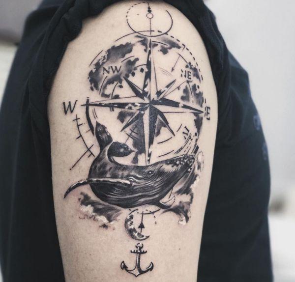 Cartina Mondo Tatuaggio.Tatuaggio Bussola Significato 70 Idee Per Un Tatuaggio Originale Tatuaggio Co